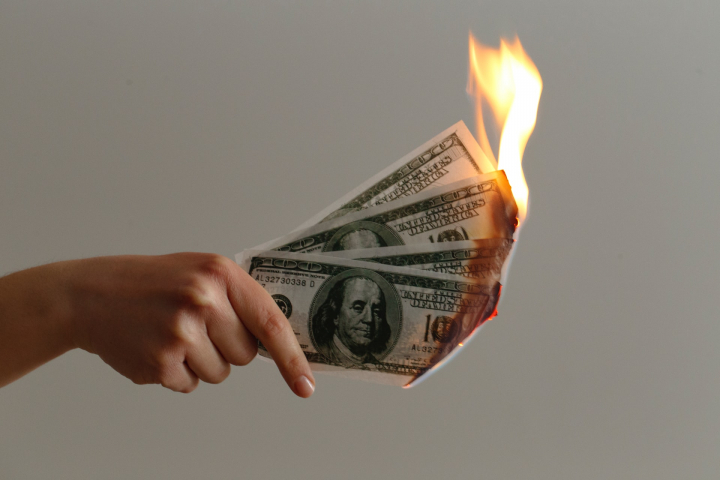money, cash, dollars, funding, VC, cash burn, burning money